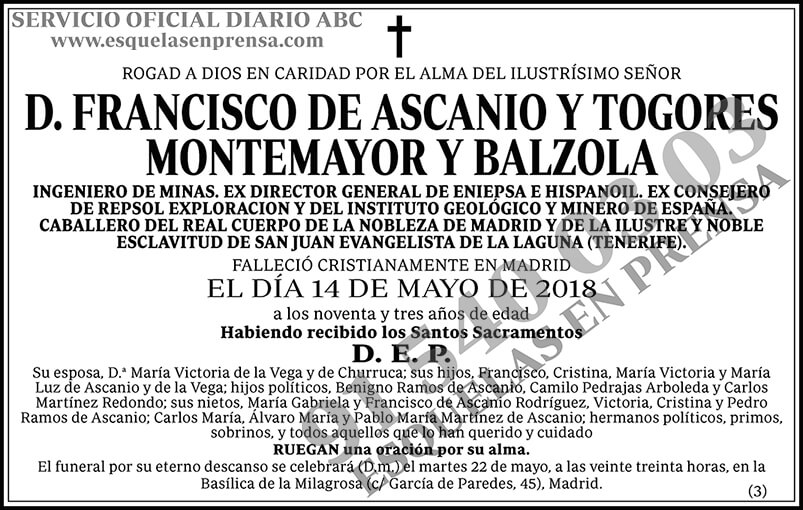 Francisco de Ascanio y Togores Montemayor y Balzola
